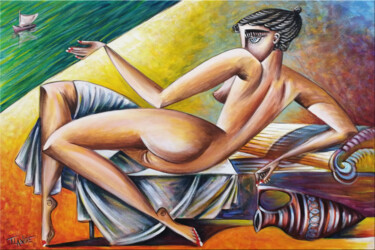 """Painting titled """"Woman Chillout #M61"""" by Thomas Lange, Original Art, Oil Mounted on Stretcher frame"""