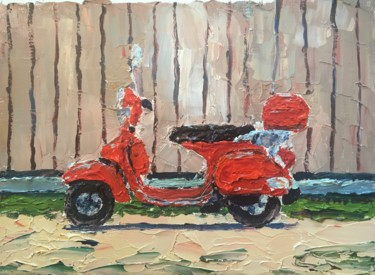 """Painting titled """"La Vespa"""" by Thomas Grotzky, Original Art, Oil Mounted on Stretcher frame"""