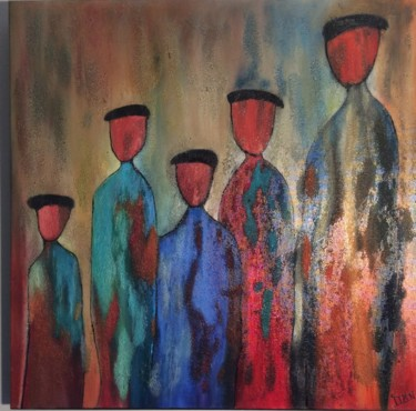 """Painting titled """"LES BERETS"""" by Annie Moreau, Original Art, Oil Mounted on Stretcher frame"""