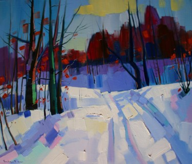 """Painting titled """"Winter landscape in…"""" by Tigran Aveyan, Original Art, Oil Mounted on Stretcher frame"""