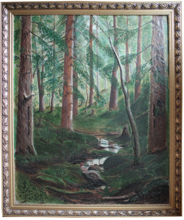 """Painting titled """"Forest Stream"""" by Tamila Karpukhina, Original Art, Oil Mounted on Other rigid panel"""