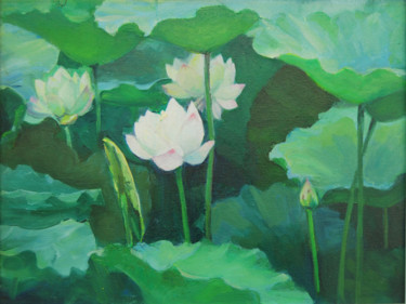 """Painting titled """"Lotus Oil Painting"""" by Tina Zhou, Original Art, Oil"""