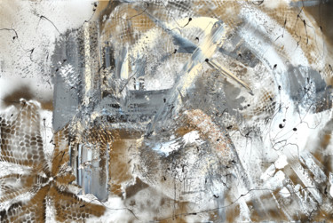 """Painting titled """"Golden gray abstract"""" by Tiny De Bruin, Original Art, Acrylic"""