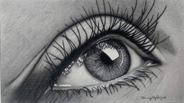 """Drawing titled """"The Human Eye"""" by Tammy Carrick, Original Art, Charcoal"""