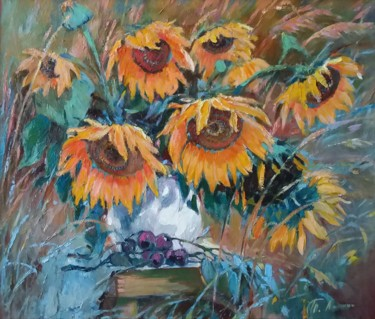 """Painting titled """"Sunflowers 2 -  flo…"""" by Tatiana Lapina, Original Art, Oil Mounted on Stretcher frame"""