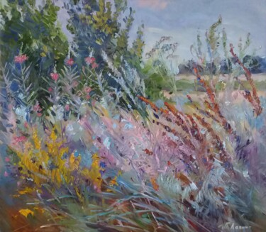 """Painting titled """"Pre-Autumn forbs"""" by Tatiana Lapina, Original Art, Oil Mounted on Stretcher frame"""
