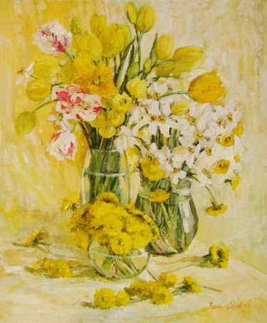 """Painting titled """"Gold, daffodils"""" by Olga Sedykh, Original Art, Oil"""