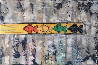 """Painting titled """"""""Fishes in the bath…"""" by Natalia Toderica, Original Art, Acrylic"""