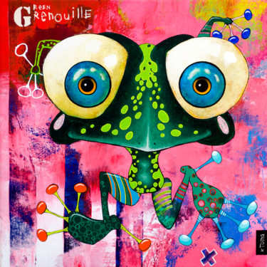 """Painting titled """"Green Grenouille"""" by Toma, Original Art, Acrylic"""