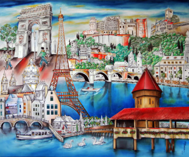 """Painting titled """"a-glimpse-of-europe…"""" by Miriam Besa, Original Art, Oil"""