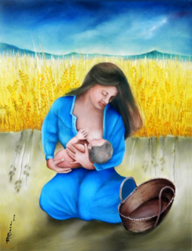 """Painting titled """"mother-and-child.jpg"""" by Miriam Besa, Original Art, Oil"""