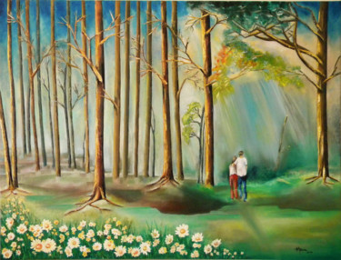 """Painting titled """"Solace in the Woods"""" by Miriam Besa, Original Art, Oil"""