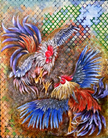 """Painting titled """"Cockfight 2"""" by Miriam Besa, Original Art, Oil"""