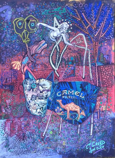 Drawing, collages, outsider art, artwork by Girerd Christophe