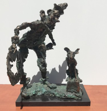 """Sculpture titled """"Clown with dog"""" by Erno Toth, Original Art, Bronze"""