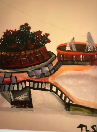 """Painting titled """"Art In The Courtyar…"""" by Tracie Lauren, Original Art, Acrylic"""