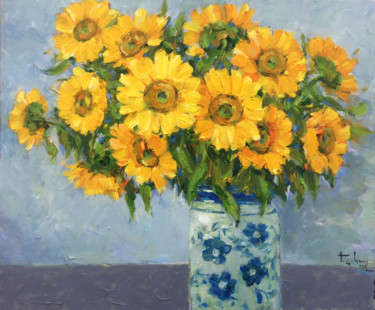 """Painting titled """"Sunflowers"""" by Anh Huy Tran, Original Art, Acrylic Mounted on Stretcher frame"""