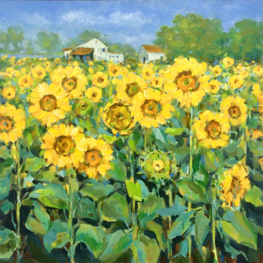 """Painting titled """"Sunflower field in…"""" by Anh Huy Tran, Original Art, Acrylic"""