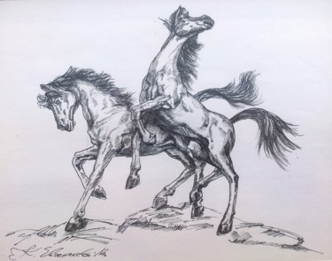 Horse Drawing, ink, expressionism, artwork by Katerina Evgenieva