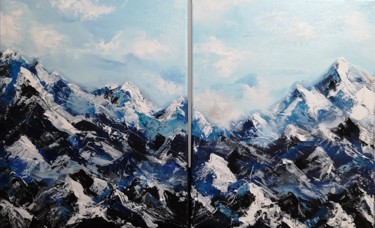 Mountainscape Painting, acrylic, abstract, artwork by Aliaksandra Tsesarskaya