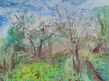 """Painting titled """"The Cherry Orchard"""" by Uliana Veretennikova, Original Art, Oil Mounted on Stretcher frame"""