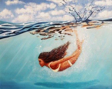 """Painting titled """"Flying in the sea"""" by Uliana Titova, Original Art, Oil Mounted on Stretcher frame"""