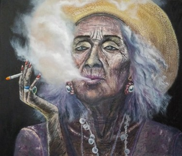 """Painting titled """"Woman with a cigare…"""" by Julianna Tulinova, Original Art, Oil"""