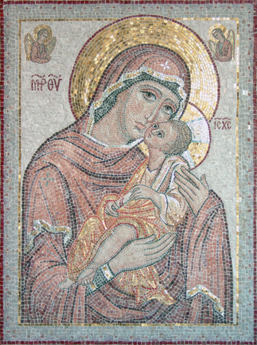 """Painting titled """"Icon of Our Lady of…"""" by Alyona Masterkova, Original Art, Mosaic"""