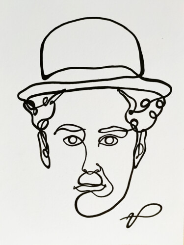 """Painting titled """"CHARLIE CHAPLIN"""" by Ulisses Pereira, Original Art, Marker"""