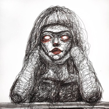 """Drawing titled """"Look at me"""" by Marie Utrachena, Original Art, Gel pen"""