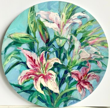 """Painting titled """"White lilies-home d…"""" by Tatiana Timofeeva, Original Art, Oil Mounted on Stretcher frame"""
