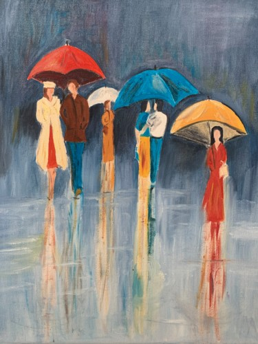 """Painting titled """"Rainy day"""" by Wilcox, Original Art, Oil"""