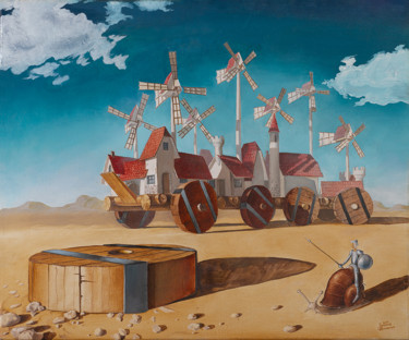 """Painting titled """"Don Quixote and the…"""" by Vyacheslav Nikiforov, Original Art, Oil"""