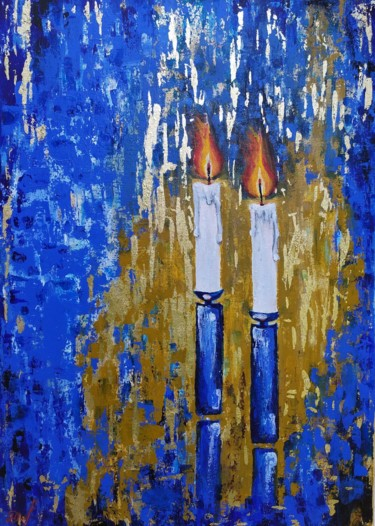 """Painting titled """"Flickering candles"""" by Marina Dinin, Original Art, Acrylic Mounted on Stretcher frame"""
