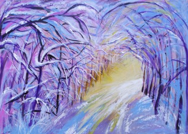 """Painting titled """"Winter road"""" by Marina Dinin, Original Art, Acrylic Mounted on Stretcher frame"""
