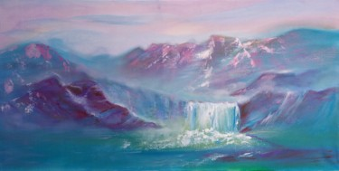 """Painting titled """"Waterfall"""" by Marina Dinin, Original Art, Oil Mounted on Stretcher frame"""