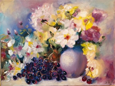 Flower Painting, oil, expressionism, artwork by Marina Dinin