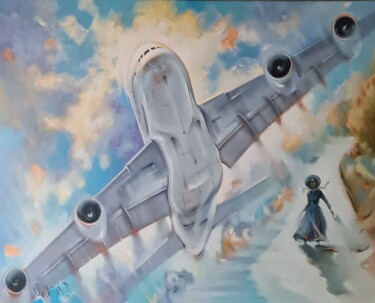 """Painting titled """",,The girl and the…"""" by Vadim Kovalev, Original Art, Oil Mounted on Stretcher frame"""