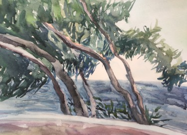 """Painting titled """"Windy day.Sea wiew"""" by Valentina Pushkareva, Original Art, Watercolor"""
