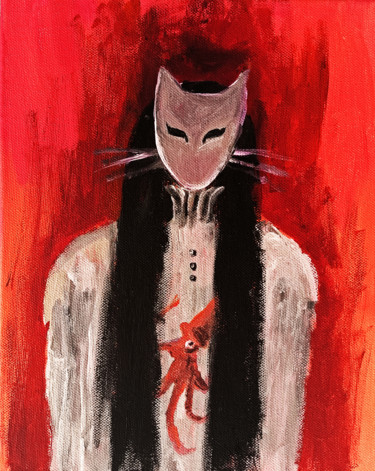"""Painting titled """"One of the Cats"""" by Valentina Ginevra Ceraso, Original Art, Acrylic"""