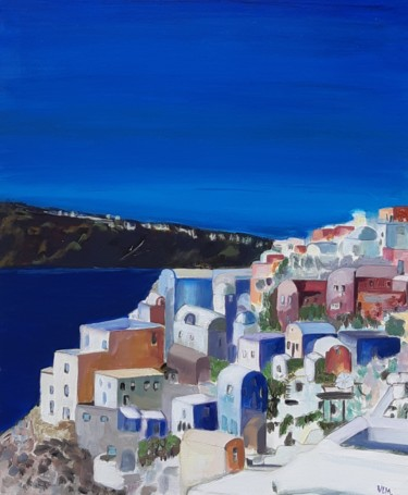 """Painting titled """"Greek island-île Gr…"""" by Valérie Le Meur, Original Art, Acrylic Mounted on Stretcher frame"""