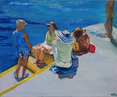 """Painting titled """"Touristes au port"""" by Valérie Le Meur, Original Art, Acrylic Mounted on Stretcher frame"""