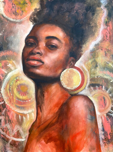 """Painting titled """"African queen"""" by Валентина Шатохина, Original Art, Oil Mounted on Wood Panel"""