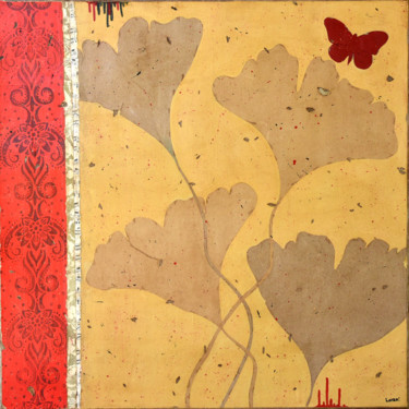 """Painting titled """"Ginkgo et diamant r…"""" by Laurent Vauxion - Loran', Original Art, Acrylic Mounted on Stretcher frame"""