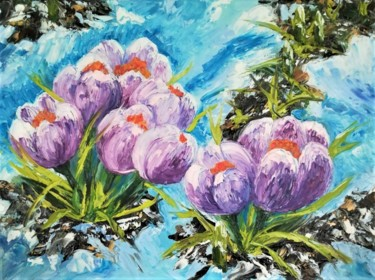 """Painting titled """"""""Crocuses"""""""" by Вера Юрченко, Original Art, Oil Mounted on Stretcher frame"""