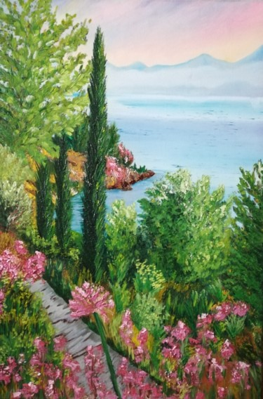 """Painting titled """"""""The Mediterranean"""""""" by Вера Юрченко, Original Art, Oil Mounted on Stretcher frame"""