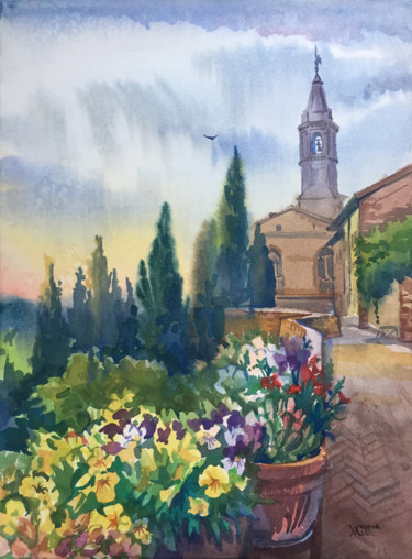"""Painting titled """"Pienza, Italy. Town…"""" by Natalia Veyner, Original Art, Watercolor"""