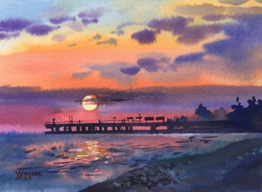 """Painting titled """"Sunset at the sea.…"""" by Natalia Veyner, Original Art, Watercolor"""