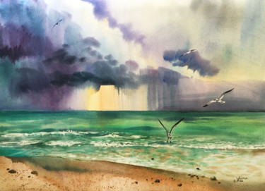"""Painting titled """"Miami beach. The oc…"""" by Natalia Veyner, Original Art, Watercolor"""