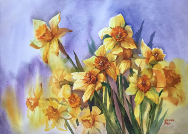 """Painting titled """"Bouquet of daffodil…"""" by Natalia Veyner, Original Art, Watercolor"""